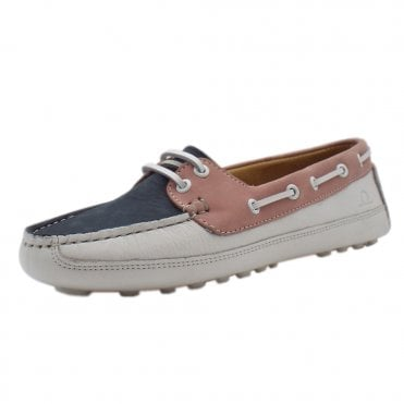 Echo Women's Driving Lace-up Loafers in Navy & White