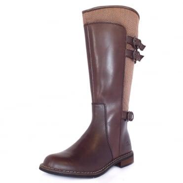Emerson Women's Country Style Long Boots in Brown Leather and Tweed