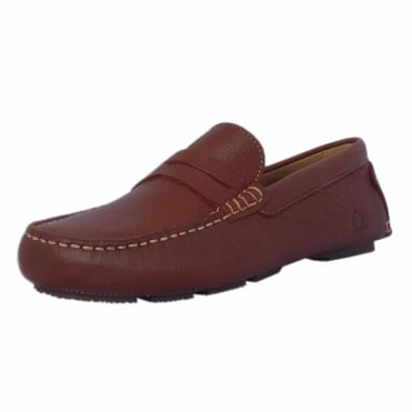 Escape Men's Casual Driving Moccasin Loafers in Brown Leather
