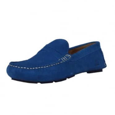 Escape Men's Casual Driving Moccasin Loafers in Cobalt Suede