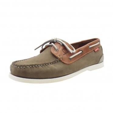 Galley II Men's Leather Boat Shoes in Khaki