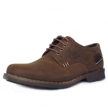 Isaac Men's Casual Lace-Up Shoes in Dark Brown Distressed Effect Nubuck