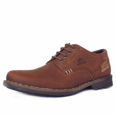 Isaac Men's Casual Lace-Up Shoes in Red Brown Distressed Effect Nubuck