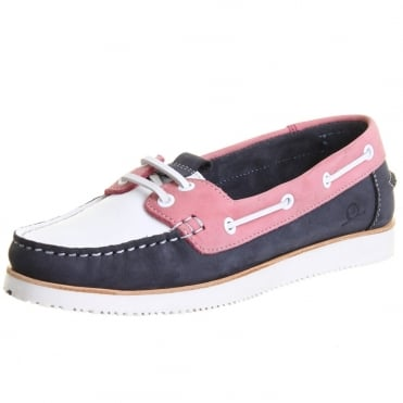 Josie Women's Wedge Boat Shoes in Coral, White and Navy