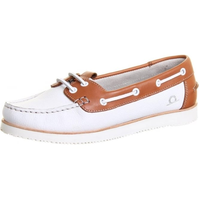 Chatham Marine Josie Women's Wedge Boat Shoes in White and Tan