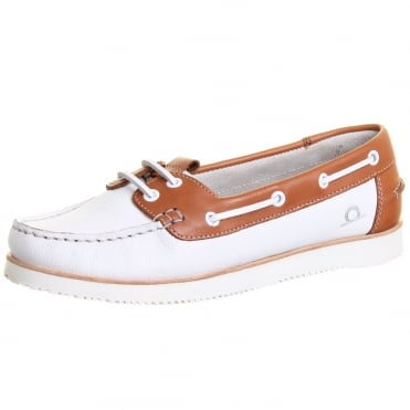 Josie Women's Wedge Boat Shoes in White and Tan