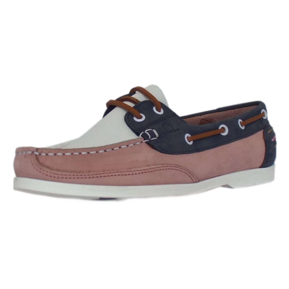 chatham marine julie pink navy white leather s