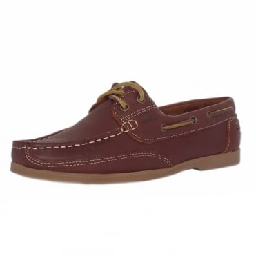 Julie Women's lace up Moccasin Boat Shoes in Brown leather