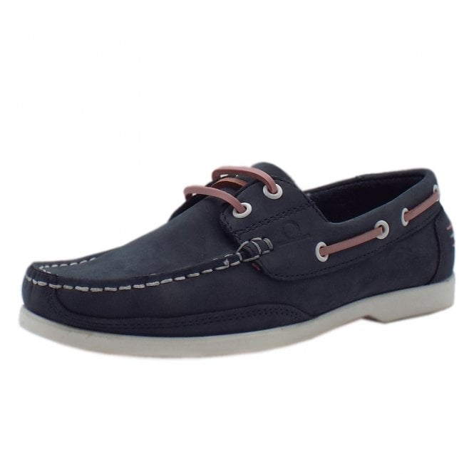 Chatham Marine Julie Women's lace up Moccasin Boat Shoes in Navy