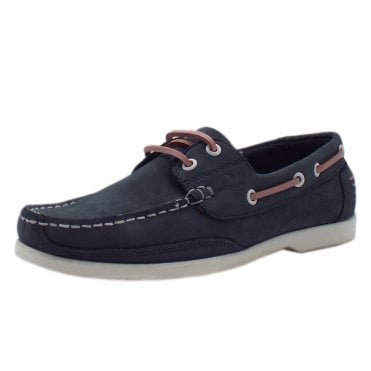 Julie Women's lace up Moccasin Boat Shoes in Navy