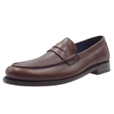 McQueen Men's Goodyear Welted Penny Loafers in Dark Brown