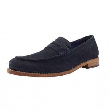 McQueen Men's Goodyear Welted Penny Loafers in Navy Suede