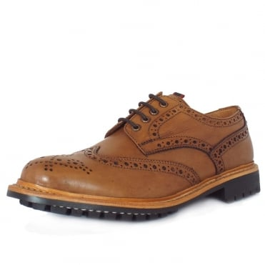 Nottingham Men's Hand-Crafted Goodyear Welted Brogues in Tan