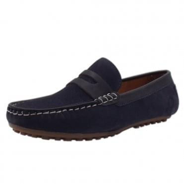 Olana Driving Moccasins in Navy Suede