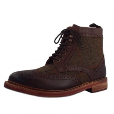 Orkney Men's Lace-up Leather Tweed Brogue Boots