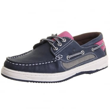 Panama II Women's Boat Shoes in Navy and Pink