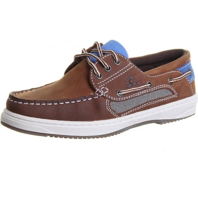 Chatham Marine Panama II Women's Boat Shoes in Tan and Blue