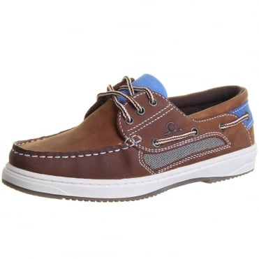 Panama II Women's Boat Shoes in Tan and Blue
