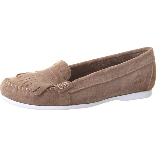 Chatham Marine Penny Women's Fringe Loafer in Taupe Suede