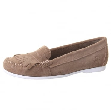 Penny Women's Fringe Loafer in Taupe Suede