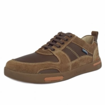 Preston Mens Casual Lace-Up Trainer in Sand Brown