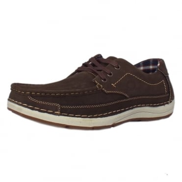 Rubble Men's Lace-up Boat Shoes in Coffee