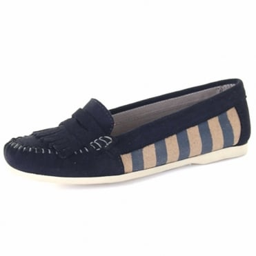 Sandy Women's Canvas Penny Loafer in Navy