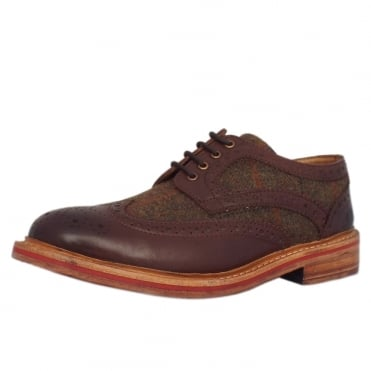 Shetland Men's Lace-up Leather Tweed Brogues