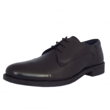 Sutton Mens Smart-Casual Lace-Up Shoe in Black Leather