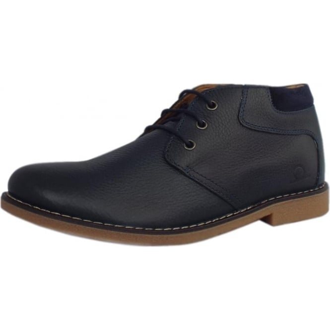 Chatham Marine Tor Men's Desert Boots in Navy Blue Leather