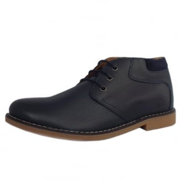 Tor Men's Desert Boots in Navy Blue Leather