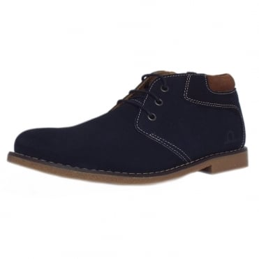 Tor Men's Desert Boots in Navy Blue Suede