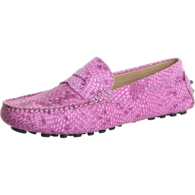 Chatham Marine Tropez Women's Driving Loafers in Snake Pink