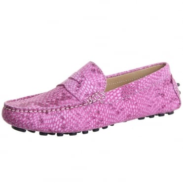 Tropez Women's Driving Loafers in Snake Pink