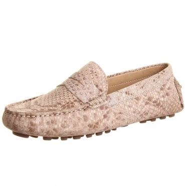 Tropez Women's Driving Loafers in Snake Taupe