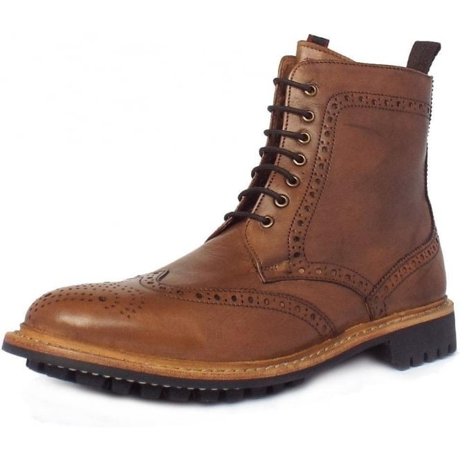 89261e831bbb Chatham Country York | Men's High Ankle Brogue Boots in Tan Brown