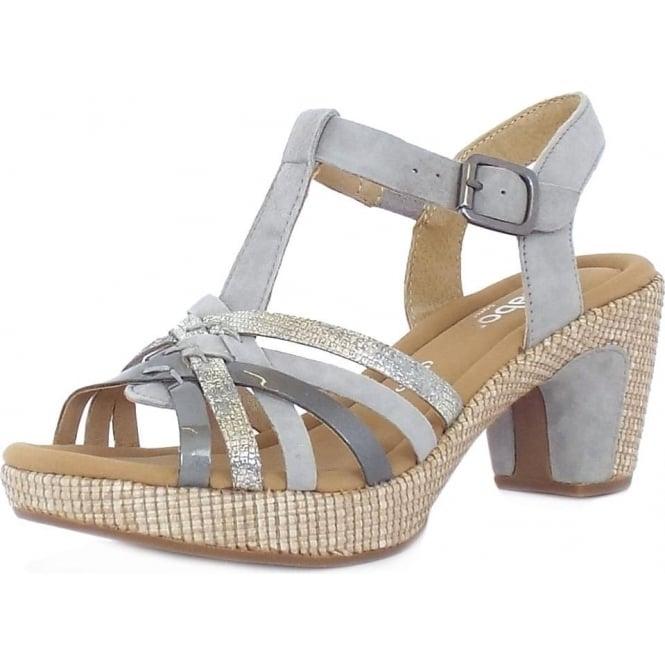 Gabor Cheri Women's Modern Wider Fit T Bar Sandals in Grey Mix