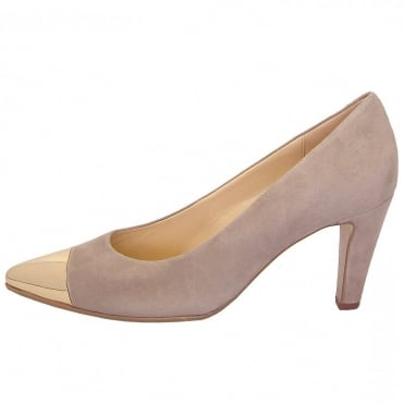 Cherish Womens Court Shoe In Light Taupe Suede