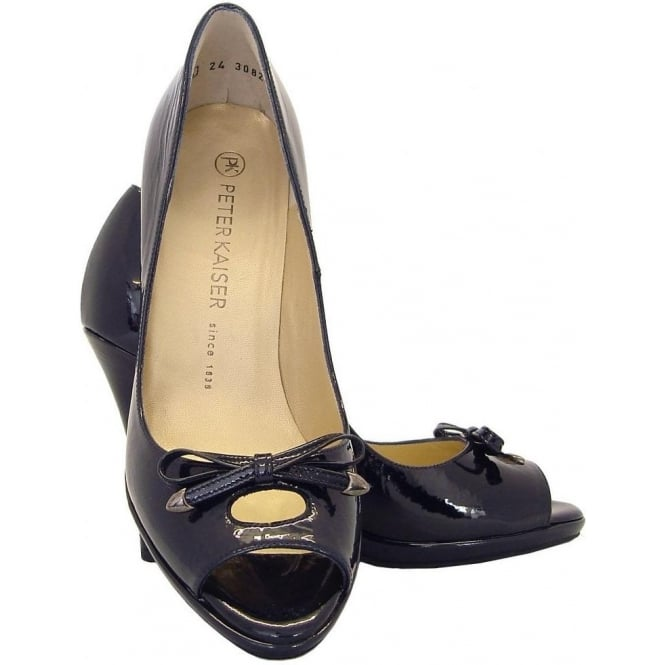 26225948f62b Cinua Peep Toe High Heel Shoes in Navy Patent