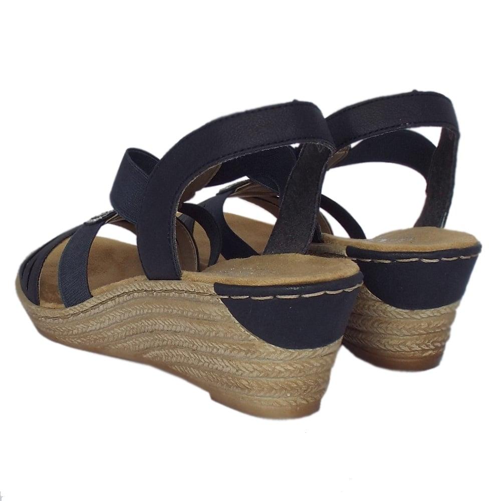 rieker antistress clare comfortable navy blue sandals