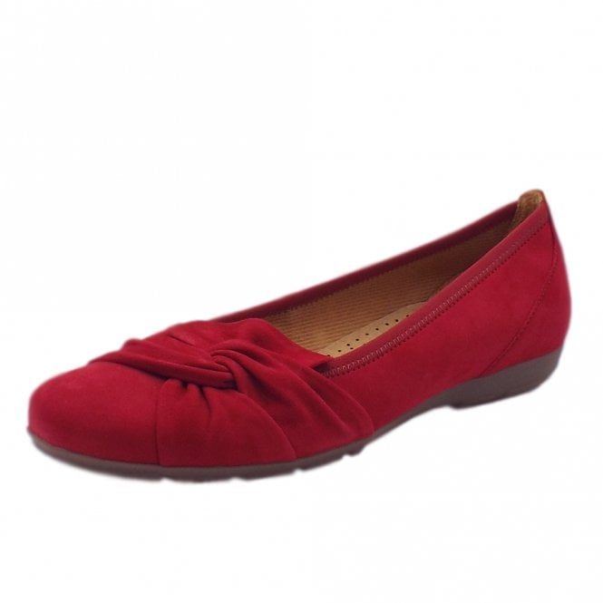 Gabor Claredon Modern Leather Ballet Pumps in Red Suede