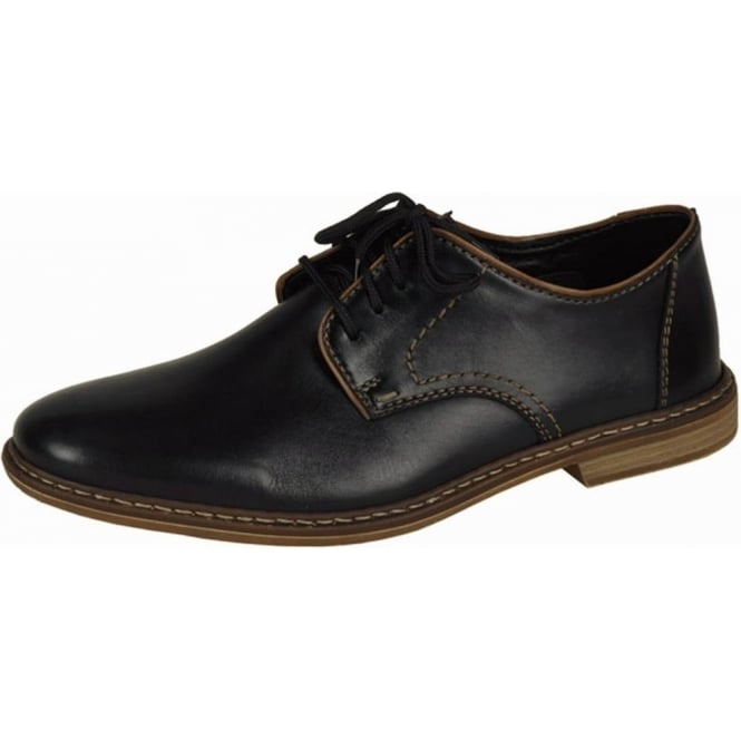 Rieker Shoes Clarence Mens Smart Shoes In Black Leather Mozimo