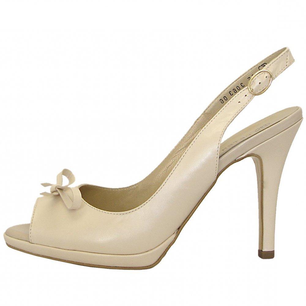 peter kaiser claris high heel peep toe sling backs in cream mozimo. Black Bedroom Furniture Sets. Home Design Ideas