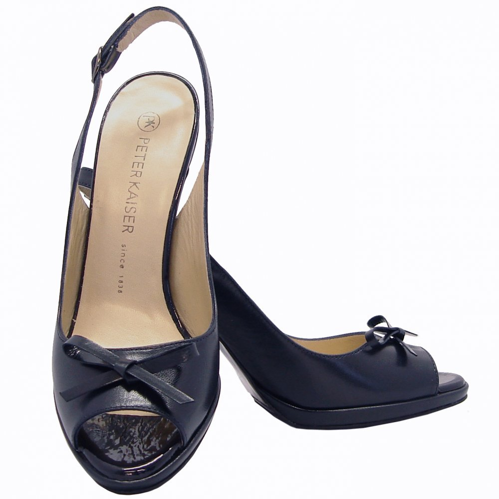 Navy Blue Peep Toe Shoes High Heels - Is Heel