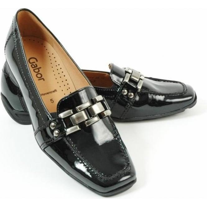 cf3e32cb371de Gabor Shoes | Clico Patent Loafer Shoe in Black Patent | Mozimo