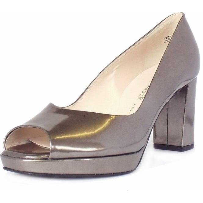 763afc44b04 Cooky Block Heel Peep Toe Court Shoes in Metallic Pewter