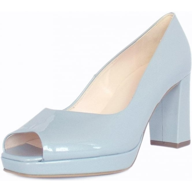 0abb6b1f74a Cooky Block Heel Peep Toe Court Shoes in Pearlised Blue Patent
