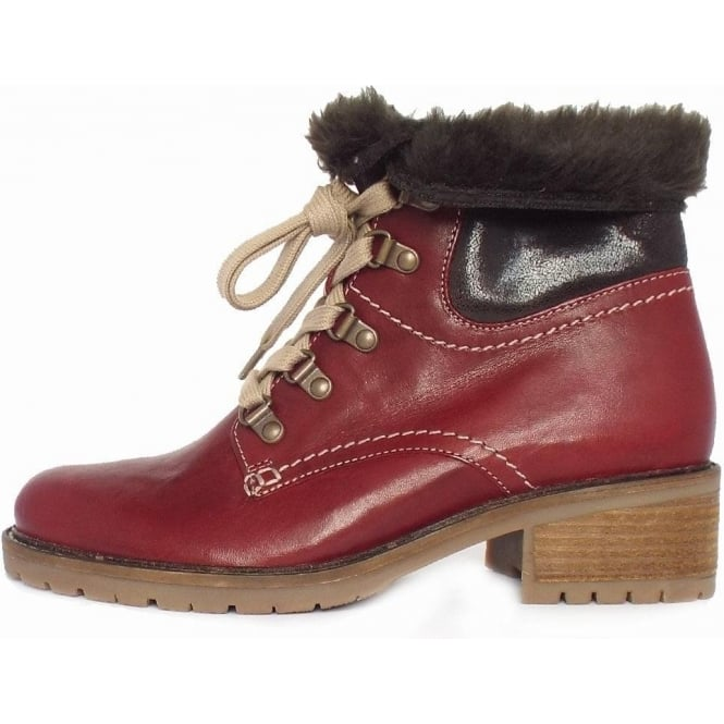 5bbcc1424f035 Gabor Gabor Cranleigh Women's Wide Fit Lace Up Ankle Boots in Dark Red
