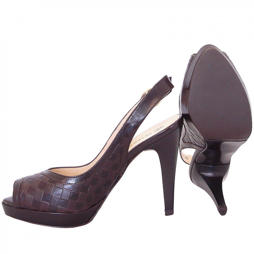 kaiser creoli high heel peep toe shoes in brown