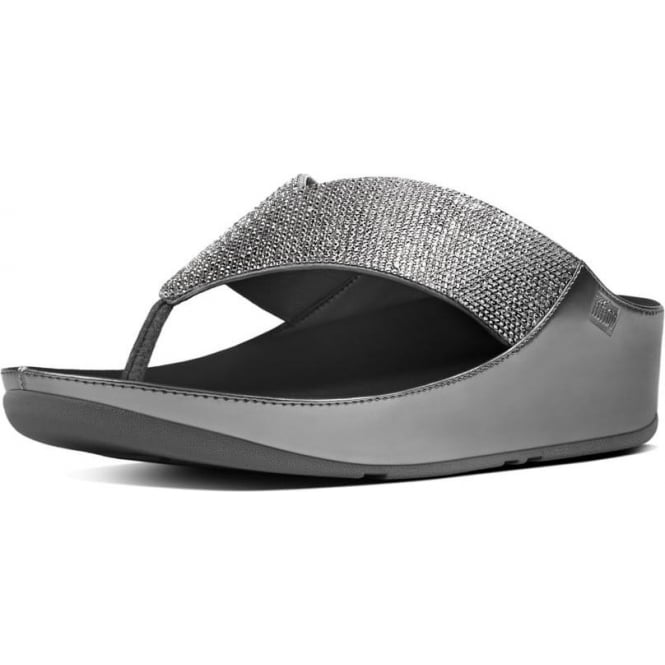 FitFlop Crystall™ Toe Post Sandal in Pewter